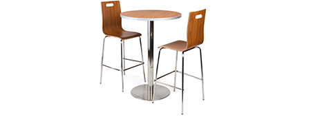 bar height table set with stackable chairs