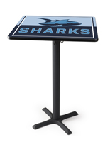 Square printed custom high top tables with custom printed logo