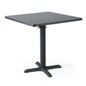 Black square laminate restaurant table with heavy-duty base
