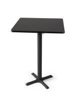 "Black pedestal bar table with 30"" square top"