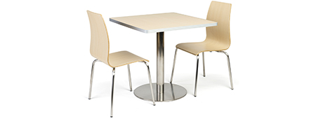 Breakroom dining set with 30-inch square tabletop