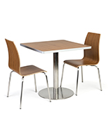 Café height table set for cafeteria with chairs