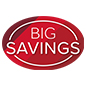 Removable BIG SAVINGS floor graphics with eye catching red design