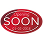 Indoor or outdoor large red OPENING SOON promotional floor decal