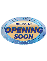 Large OPENING SOON oval promotional floor decal for 1 to 3 months of use