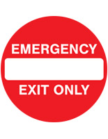 Red and white emergency exit anti-slip floor sign with pre-printed graphics