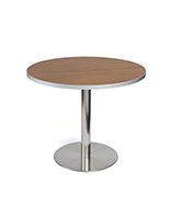 Dining height lunchroom bar table in dark wood laminate