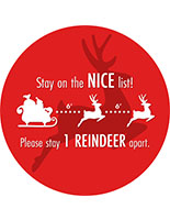 Round social distance floor decal with holiday message and textured non-slip vinyl