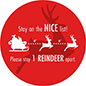 Round social distance floor decal with holiday message and adhesive backing for indoor and outdoor surfaces