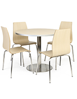 Cafeteria breakroom round dining table set complete with chairs