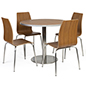 Bistro style lunchroom table and chairs arranged