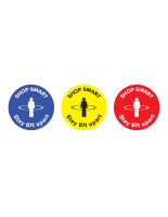 "Physical distancing ""shop smart"" floor decal in multiple colors"