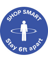 "36"" round physical distancing ""shop smart"" floor decal"