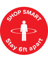 "Round physical distancing ""shop smart"" floor decal"