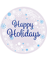"36"" x 36"" round ""Happy Holidays"" floor decal with non-slip coating"