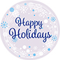 "36"" x 36"" round ""Happy Holidays"" floor decal with adhesive backer"