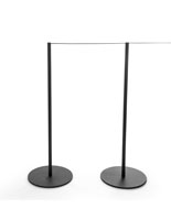 2 Attached Posts and Rope of the 8-Barrier Black Gallery Stanchion System