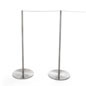 10-Stanchion Silver Museum Barrier Set with 100' Gray Elastic Barrier Cord