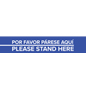 "4"" x 24"" bilingual ""Please Stand Here"" floor decal for retail stores and banks"