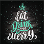"48"" x 48"" square winter floor decal with ""Eat, Drink, and Be Merry"" message"