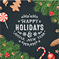 "48"" x 48"" square ""Happy Holidays"" floor decal with festive message"