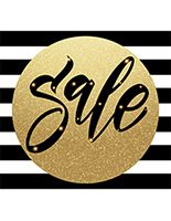 48 x 48  holiday sale store floor sticker in gold with black stripes