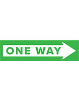One way arrow floor decal with weather resistant laminated coating