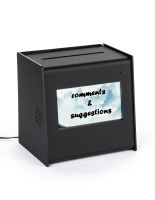 Countertop suggestion ballot box with video screen displaying custom image
