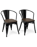 Metal bistro chair set with black glossy finish