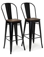 Two-tone high back bar stool set includes 11x11 foot rests