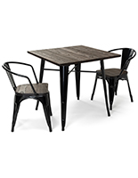 Indoor café table set with elm wood and iron metal construction