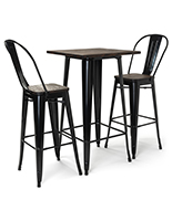 High top bar table set includes seating for two