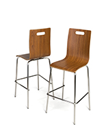 Bar height bentwood seats with high back