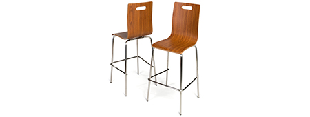 Modern bar height chairs with dark wood finish