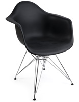 Black Plastic Eiffel Wire Base Chair
