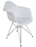 White Contemporary Wire Base Eiffel Chair