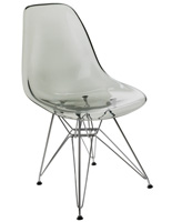 Smoke Gray Plastic Eiffel Contemporary Chair
