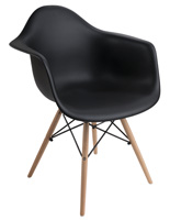 Black Molded Plastic Wood Base Chair