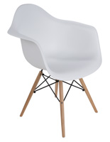 Wood Base Plastic Side Chair with White Seat