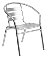 Aluminum indoor/outdoor stack chair with contemporary design