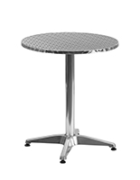 "Aluminum restaurant cafe table with 23.5"" round  top"