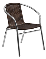 Aluminum rattan restaurant stacking chair with contemporary design