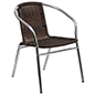 Aluminum rattan restaurant stacking chair uses weather-resistant materials