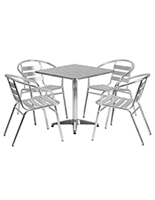 Commercial aluminum bistro furniture set with steel tabletop