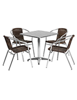 Square aluminum indoor/outdoor table set with steel top