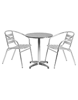 Aluminum outdoor bistro set with stainless steel tabletop