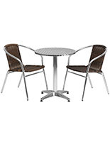 Aluminum and rattan indoor/outdoor cafe set with steel tabletop