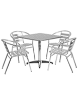 5-piece square aluminum patio dining set with steel tabletop