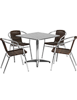 Aluminum restaurant table and chair set with steel top
