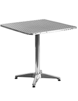 "Contemporary aluminum bistro table with 27.5"" square  top"